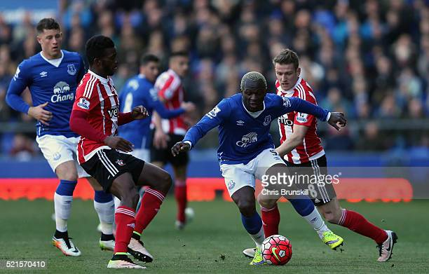 Arouna Kone of Everton in action during the Barclays Premier League match between Everton and Southampton at Goodison Park on April 16 2016 in...