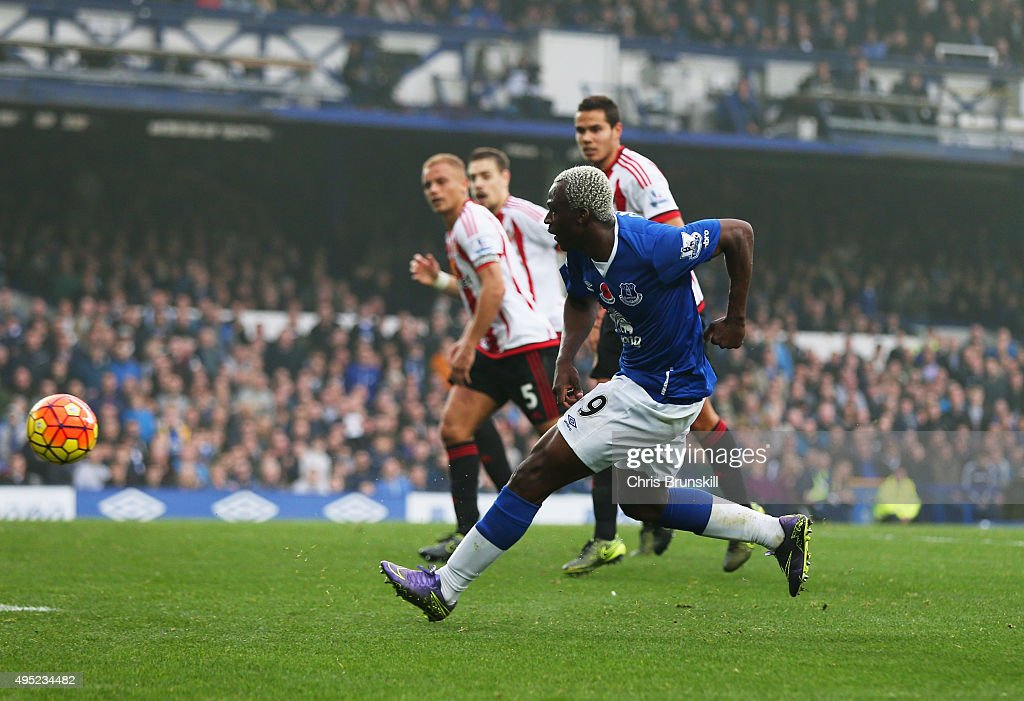 Arouna Kone of Everton scores their fifth goal during the Barclays Premier League match between Everton and Sunderland at Goodison Park on November 1, 2015 in Liverpool, England.