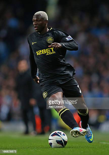 Arouna Kone of Wigan Athletic in action during the Barclays Premier League match between Manchester City and Wigan Athletic at the Etihad Stadium on...