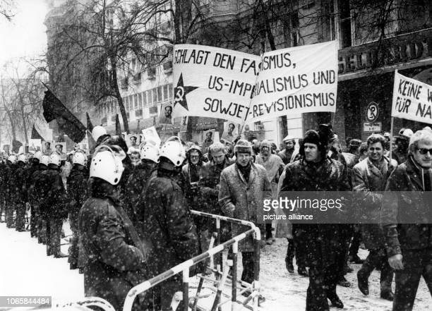 Around 1000 protesters march past the Persian consulate in Bleibtreu Street in West Berlin on the the 15th of February in 1969 There were heavy riots...