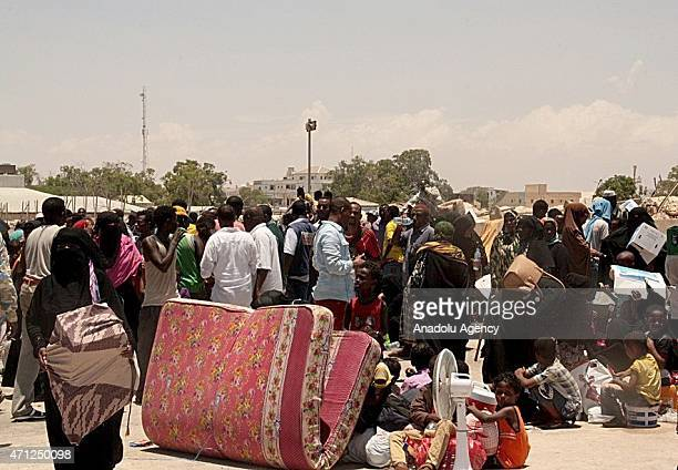 Around 1200 Somali refugees returned home on Sunday through the northeastern Bosaso Port after fleeing crisishit Yemen in Bosaso Somalia on April 26...