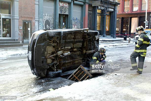 30pm on Howard St between Broadway and Crosby in Chinatown New York an underground ConEd transformer exploded blasting open a manhole cover A car...