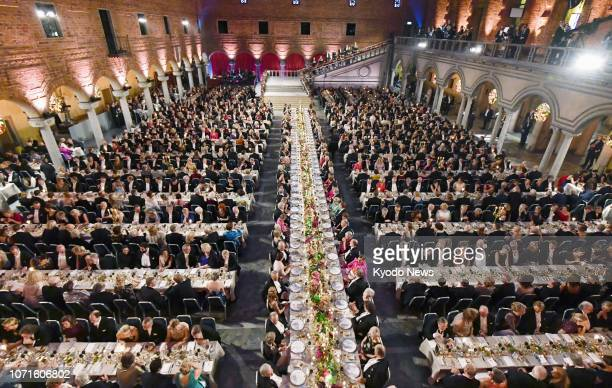 Around 1300 people attend the Nobel Banquet held at the Stockholm City Hall in the Swedish capital on Dec 10 after the award ceremony ==Kyodo