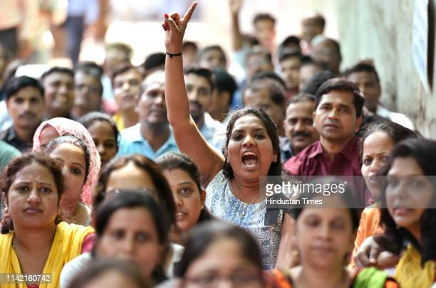 Around 140 Casual workers of Doordarshan Worli office sit on strike for employees policy regularization and wage hike on May 6 2019 in Mumbai India...