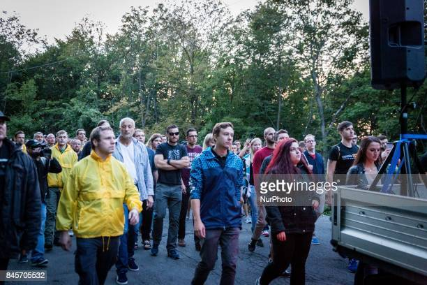 Around 150 members of the far right identitarian movement held a remembrance demonstration at Kahlenberg Vienna Austria including a torch march on...