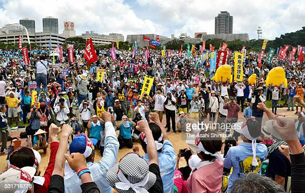 Around 2500 people join a demonstration demanding an Okinawa Prefecture free of US military bases on May 15 2016 in Naha Okinawa Japan On May 15...