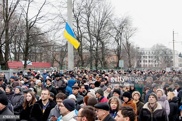 Around 3 thousand people attend the funeral ceremony of Vlad Zubenko who have died during the antigovernment protests at the Independence Square on...
