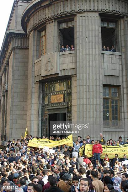 Around 300 Egyptians demonstrate in Cairo 12 December 2004 outside Cairo's main court building against the possibility that Egyptian President Hosni...
