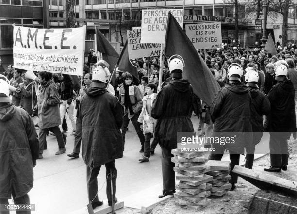 Around 300 people demonstrate against the Greek military junta, well guarded by the police, on the 19th of April in 1969 in Berlin. | usage worldwide