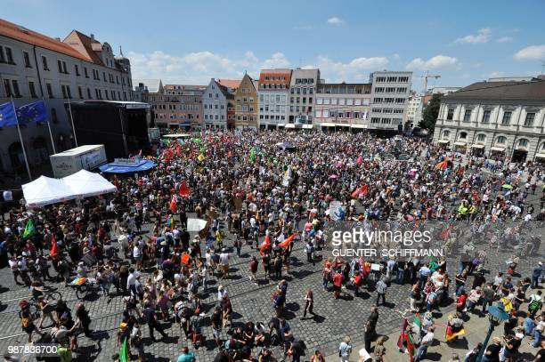 Around 3000 protesters take part in a demonstration against the AfD at the start of a twoday party congress of Germany's farright and antiimmigration...