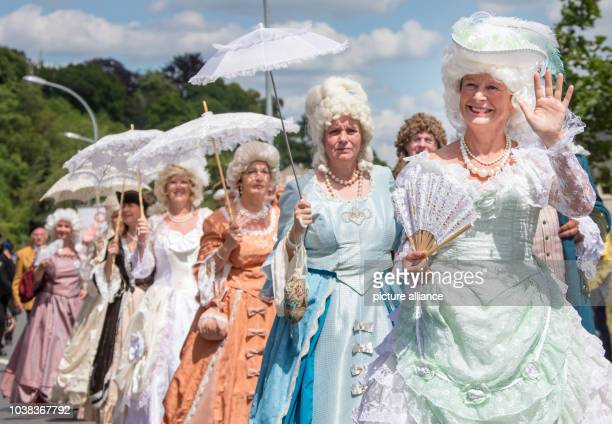 Around 3500 participants in elaborate costumes walk in the festival parade at the closing of Thuringia Day in Poessneck Germany 28 June 2015 132...