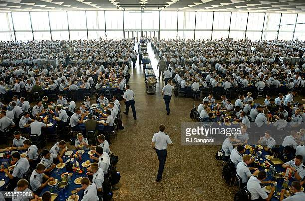 Around 4000 cadets eat lunch together at the US Air Force Academy on the first day of classes for cadets at the academy in Colorado Springs August 13...