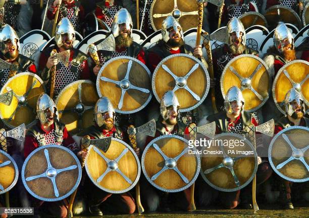 Around 50 men from the Norsemen Jarl Squad arrive at Lerwick harbour Tuesday January 31 to celebrate Shetland's annual Viking festival Up Helly Aa...