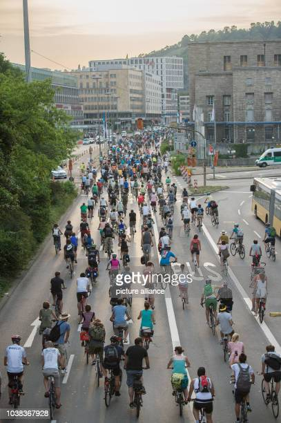 Around 600 people take part in the bicycle rally 'Critical Mass' in Stuttgart Germany 03 July 2015 The participants promote the extended use of...