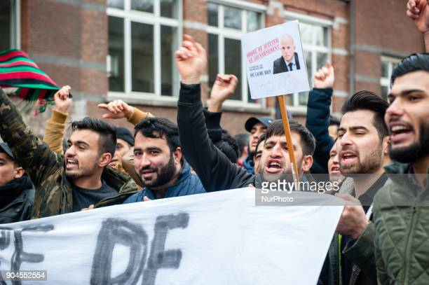 Around 8000 people gathered against Belgium's asylum and migration policy of the Belgian Secretary of State for Immigration Theo Franken in Brussels...