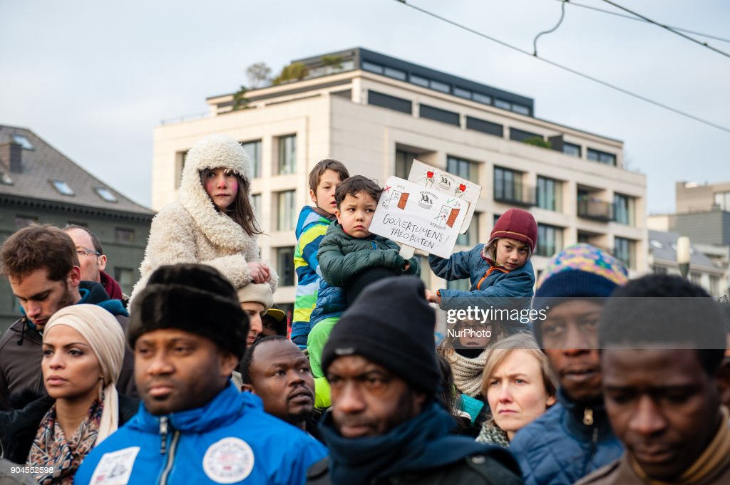Around 8000 people gathered against Belgium's asylum and migration policy of the Belgian Secretary of State for Immigration, Theo Franken in Brussels, Belgium, on 13 January, 2018. After he ordered asylum seekers be returned to Sudan, where they say they fear for their lives. People are asking for his resign. Some politicians have suggested that the migration secretary, Theo Francken, the leader who invited the Sudanese officials to Belgium, should consider stepping down over his handling of the matter. Francken has said he has no plans to resign after appearing to mislead Parliament by telling lawmakers, incorrectly, after the allegations emerged that no further deportations were planned.