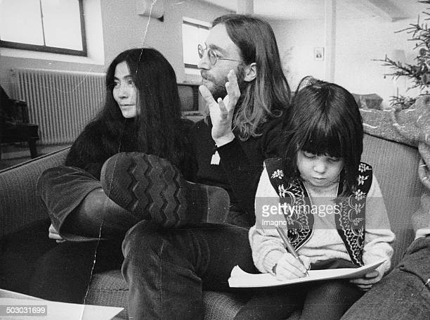 Around the Christmas tree with the English musician John Lennon and his wife Yoko Ono They are visiting Yoko Ono's daughter Kyoko in Copenhagen 6th...