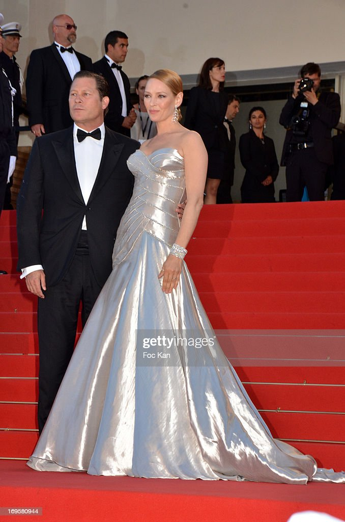 Arpad Busso Uma Thurman (R) attend the 'Zulu' Premiere and Closing Ceremony during the 66th Annual Cannes Film Festival at the Palais des Festivals on May 26, 2013 in Cannes, France.