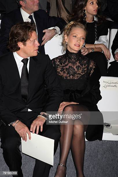 Arpad Busson and Uma Thurman attend the Valentino Fashion show during Paris Fashion Week SpringSummer 2008 on January 23 2008 at Musee Rodin in Paris...
