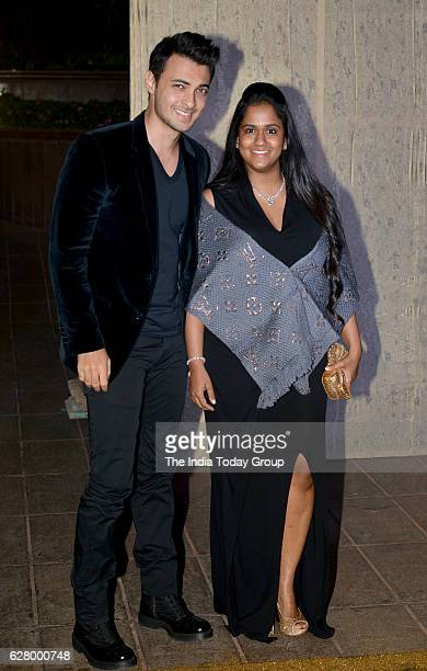 Arpita Khan along with her husband Aayush Sharma during the birthday celebrations of fashion designer Manish Malhotra in Mumbai