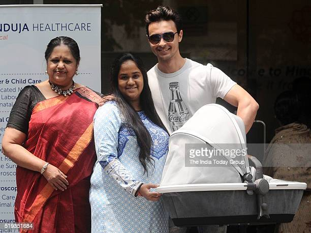 Arpita Khan and Aayush Sharma during the Discharge From Hinduja Hospital in Mumbai