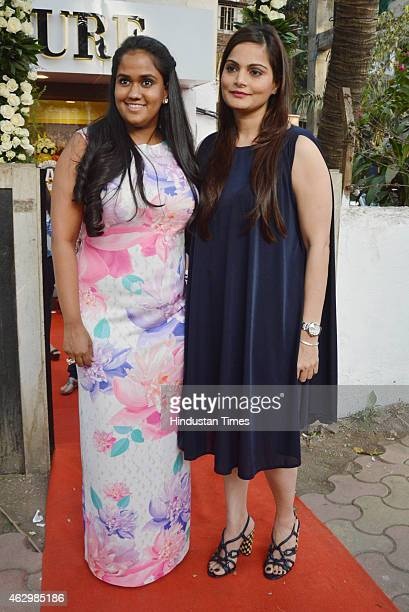 Arpita Khan Sharma and Alvira Khan during the launch of designer Ashna Gupta Kalra flagship store The Ash Haute Couture on February 5 2015 in Mumbai...
