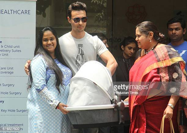Arpita Khan Sharma sister of Bollywood actor Salman Khan and her husband Aayush Sharma along with their newborn son Ahil at the Hinduja Hospital on...