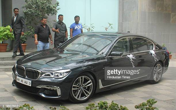 Arpita Khan Sharma sister of Bollywood actor Salman Khan and her husband Aayush Sharma along with their newborn son Ahil inside the car at the...