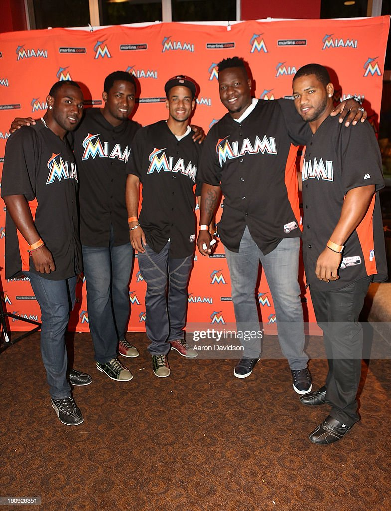 Arquimedes Caminero, Braulio Lara, Jose Ceda, and Mark Buehrle attend The Miami Marlins Host 7th Annual BaseBowl at Lucky Strike Lanes on February 7, 2013 in Miami Beach, Florida.