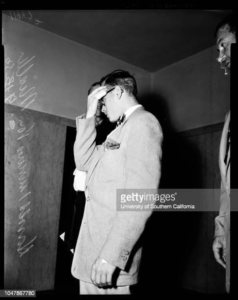 Arraignment, 13 September 1956. Detective Sergeant L.W Lane;Harold Lawrence Von Mueller. Detective Sergeant M.A Pozzo.;Caption slip reads:...