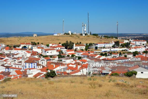 Arraiolos - view of downtown - red roofs and hill with antennas, Alentejo, Portugal