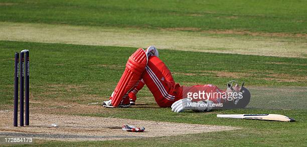 Arran Brindle of England looks on after being run out by Batool Fatima of Pakistan during the 2nd NatWest Women's International T20 match between...