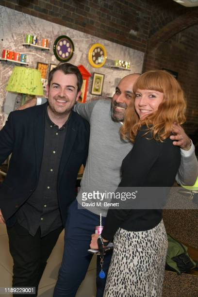 Arran Main Umar Mehter and Rosie Gillespie attend the launch of Femme by Daisy Lowe x Jemima Sara at Wolf Badger on November 21 2019 in London England