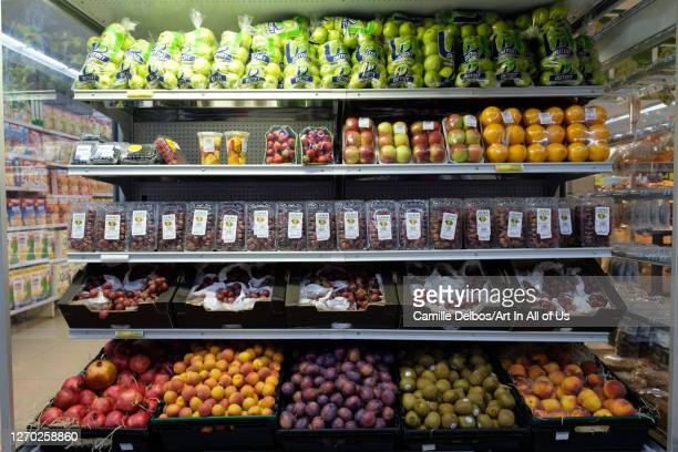 Arranged fruits an vegetables at the refrigerated section in a supermarket on Septembre 21, 2018 in Entebbe, Central Region, Uganda.