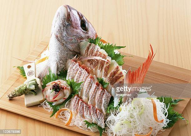 Arranged sea bream sashimi