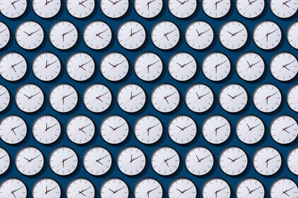 arranged timezone clocks on blue - clock fotografías e imágenes de stock