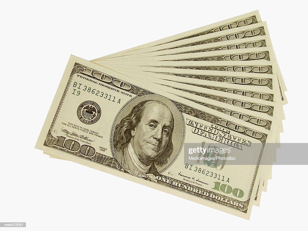 Arrangement of American bank notes : Stockfoto