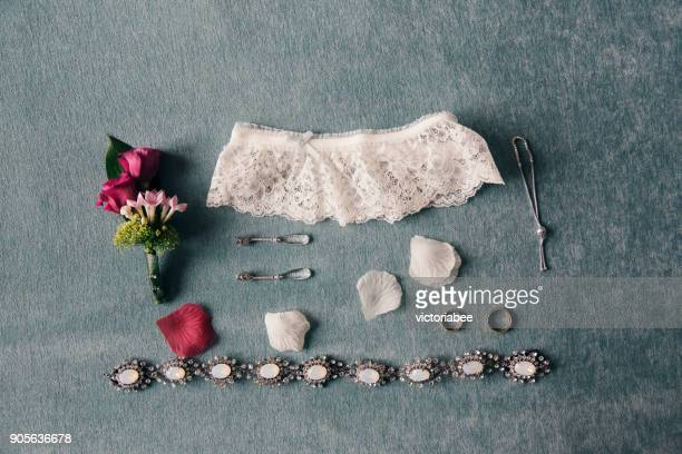arrangement of bridal accessories - garter stock pictures, royalty-free photos & images