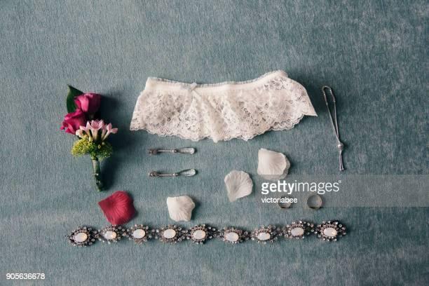arrangement of bridal accessories - garter belt stock pictures, royalty-free photos & images