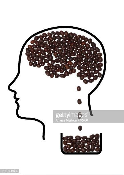 Arrangement of coffee bean with human face