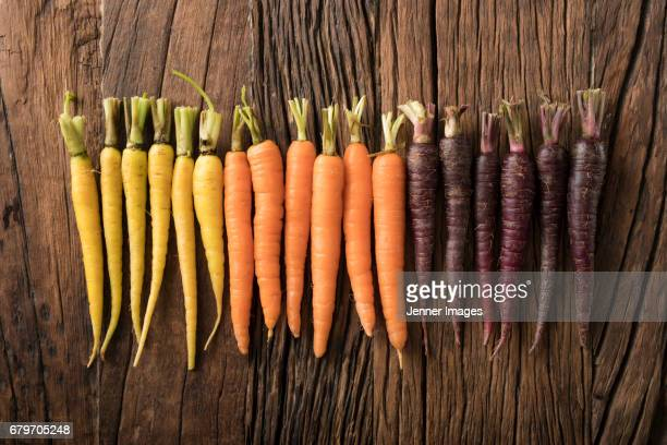 Arrangement of fresh Colourful Carrots On Rustic Background.