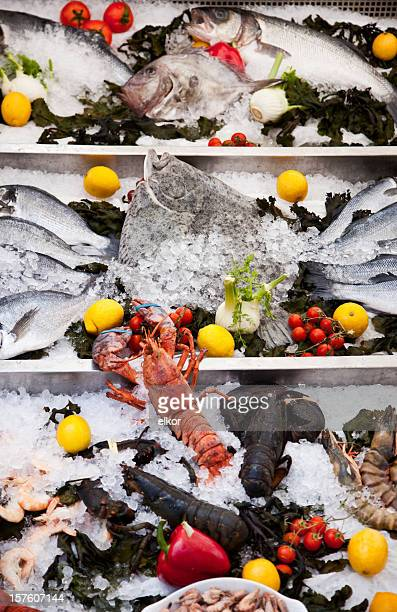 Arrangement of fresh fish and seafood at french restaurant.