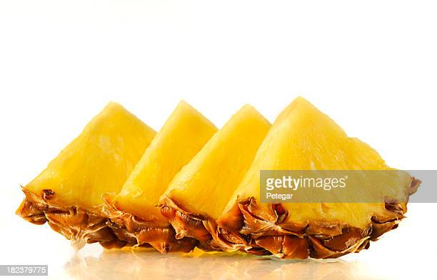 Arrangement of fresh slices of pineapple