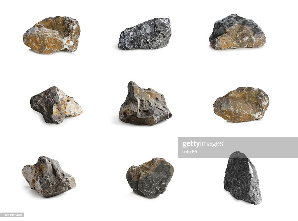Arrangement of nine rocks with different colors and textures : Stock Photo
