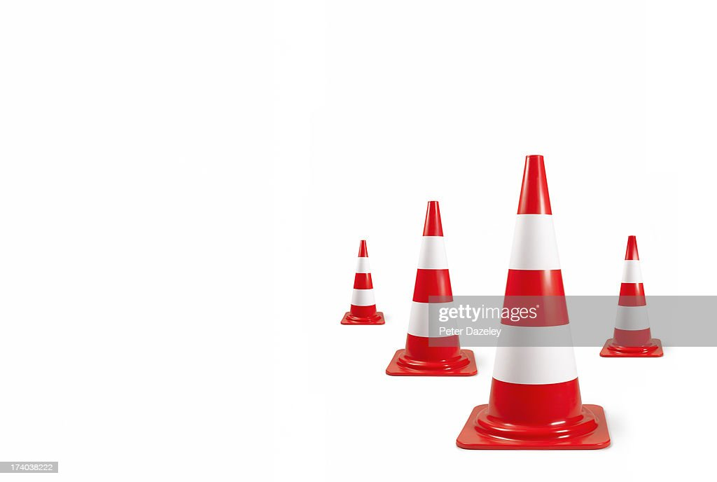 Arrangement of traffic bollards with copy space : Stock Photo