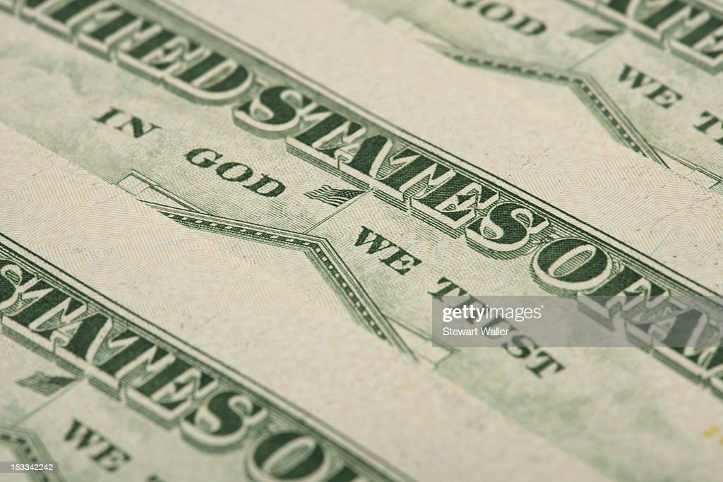 Arrangement of twenty dollar US bank notes showing reverse side : Stock Photo