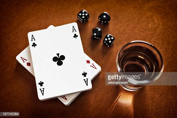 Arrangement of Whiskey, Playing Cards, Dice