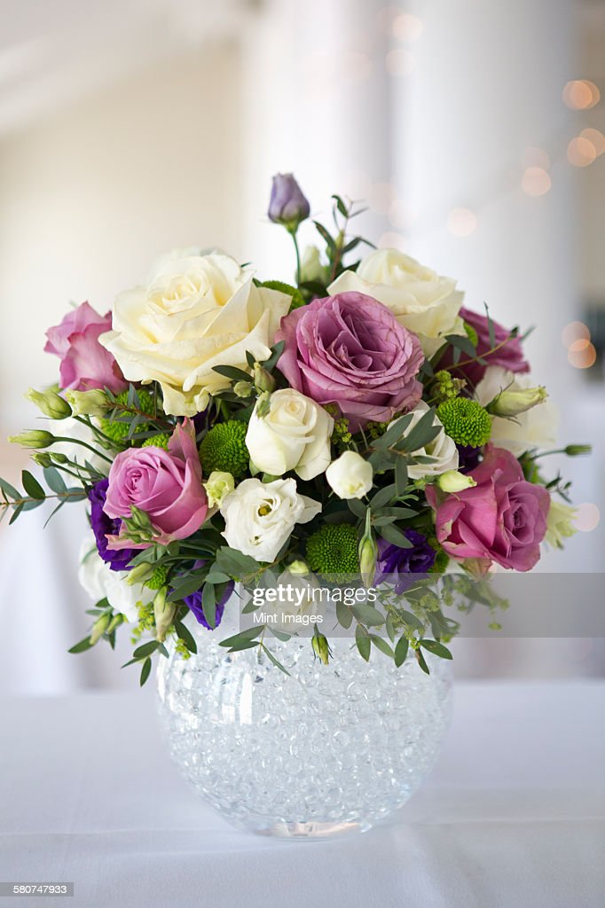 Arrangement Of White Pink And Purple Wedding Flowers Stock Photo