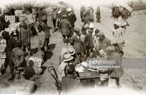 Arranging transport at Phari China 20 March 1922 Mount Everest Expedition 1922