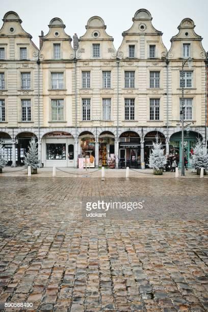 Arras main square building facades in the cold